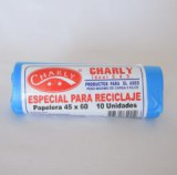 Bolsa Basura Charly Biodegradable Reciclaje Azul 45 x 60 Paq 10 unds mercado a domicilio en cali